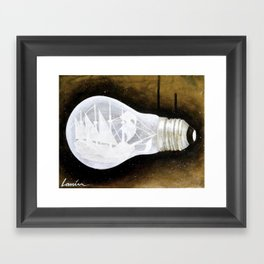 """Ship in a Lightbulb"" Framed Art Print"
