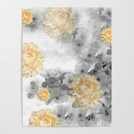 CHERRY BLOSSOMS AND YELLOW ROSES Poster