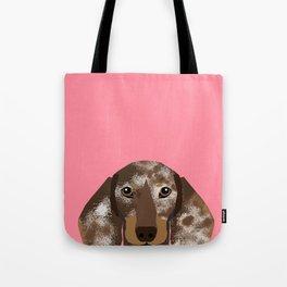 Doxie Portrait - Chocolate and Tan Dapple dog design - cute dachshund face Tote Bag