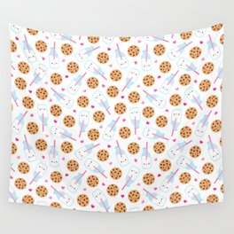 Happy Milk and Cookies Pattern Wall Tapestry