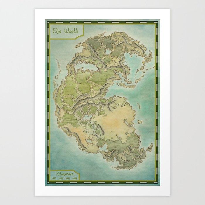 Pangea map Kunstdrucke