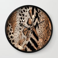 safari Wall Clocks featuring Safari by Colorful Art
