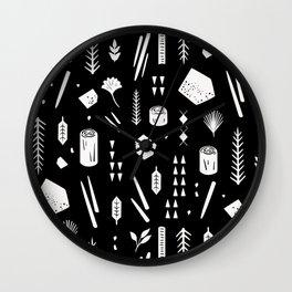 Sticks and Stones (Black) Wall Clock