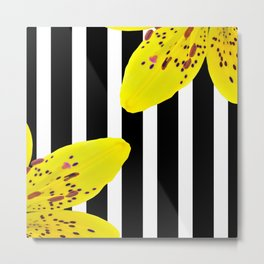 Yellow Lilies and Stripes Metal Print