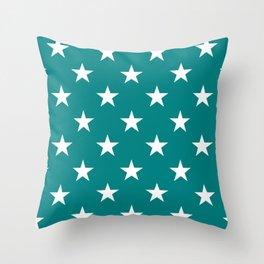 Stars (White/Teal) Throw Pillow