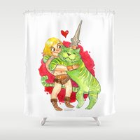 he man Shower Curtains featuring He-Man Hug by Super Group Hugs