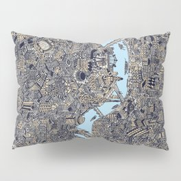 London colored map detailed drawing pen ink thames Pillow Sham