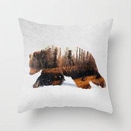 Travelling Bear Throw Pillow