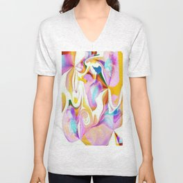 Partial Negative Peach Swirl Unisex V-Neck
