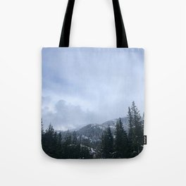 Snowy Peaks Above a Green Forest in Victoria, B.C. (Canada) Tote Bag