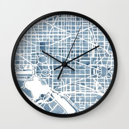 Washington DC Blueprint watercolor map Wall Clock