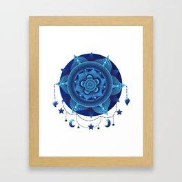 Blue monochromatic mandala dream catcher Framed Art Print