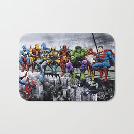 Superhero Lunch Atop A Skyscraper Bath Mat