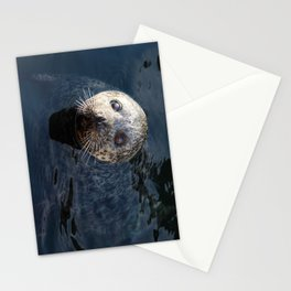 Sweet Sea Seal in Deep Blue water Stationery Cards