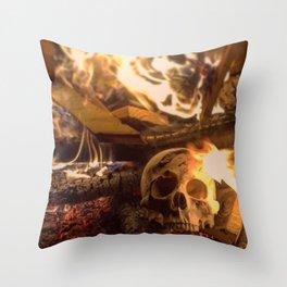 Catacomb Culture - Human Skull Fire Throw Pillow