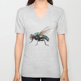 blow fly species Lucilia caesar Unisex V-Neck