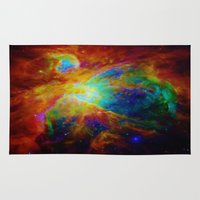nebula Area & Throw Rugs featuring Orion NEBula  : Colorful Galaxy by 2sweet4words Designs