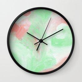 Coral Mint Abstract Wall Clock