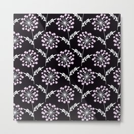 Fishnet pink flowers on a black background. Metal Print