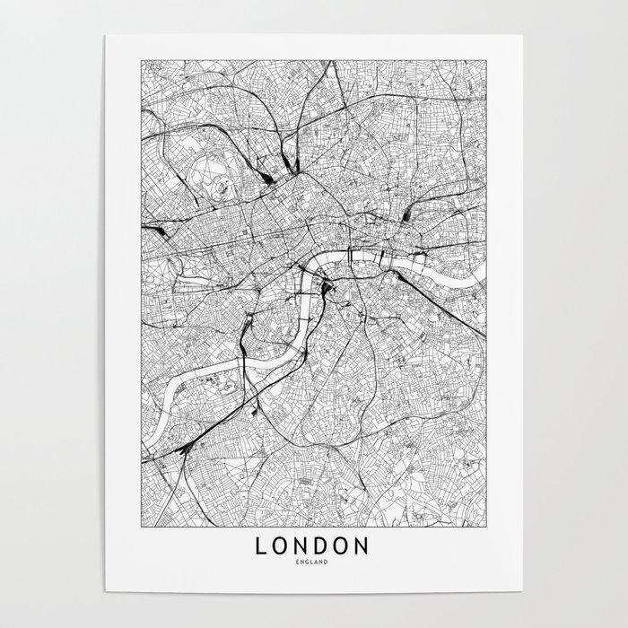 London White Map Poster