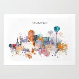 Colorful Albuquerque watercolor skyline Art Print