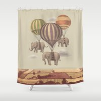 balloons Shower Curtains featuring Flight of the Elephants  by Terry Fan