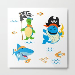 Set of cute Animals pirate design Metal Print
