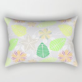 Colorful Tropical Floral Leaf Pattern Rectangular Pillow