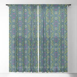 Wild Thistles on Teal Sheer Curtain