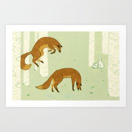 Wrong Focus Foxes Art Print