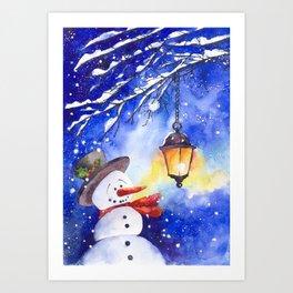 Watercolor snowman in Christmas winter night Art Print