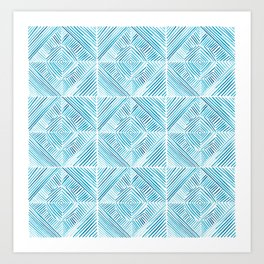 Blue Watercolor Dash Squares Art Print