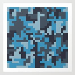 Blue and Grey Pixel Camo pattern Art Print