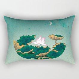 Minhwa: Lotus Pond at Night C Type (Korean traditional/folk art) Rectangular Pillow