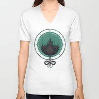 dahlia V-neck T-shirts featuring Black Dahlia by Hector Mansilla