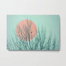 Birds and tree silhouette 2 Metal Print