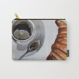 French breakfast, coffee and croissant, original oil painting, daily art Carry-All Pouch