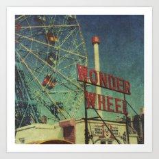 Wonder Wheel at Coney Island luna park, New York,  scaned sx-70 Polaroid Art Print