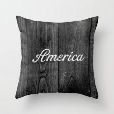 Black and White Patriotic Vintage America USA Wood Throw Pillow