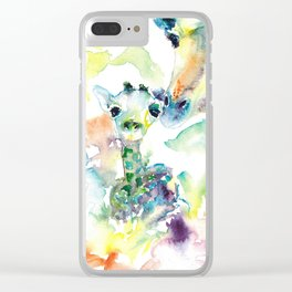 Giraffe Mama and Baby Clear iPhone Case
