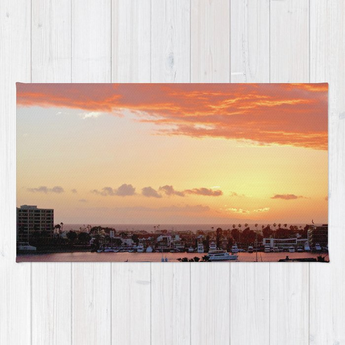 Modern Sunset On Cliff Drive Newport Beach CA Rug