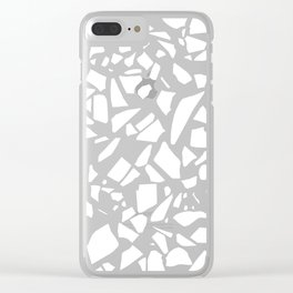 Terrazzo White on Black Clear iPhone Case