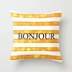 Bonjour Orange Stripe Bokeh Throw Pillow