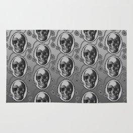 Skulls and Poppies - Antique Vintage Floral Skeleton Pattern Rug