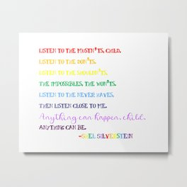 Listen to the Mustn'ts by Shel Silverstein - Child's Room/Nursery Metal Print
