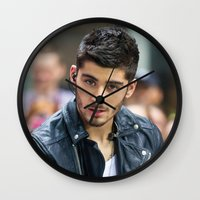 zayn malik Wall Clocks featuring Zayn Malik by behindthenoise