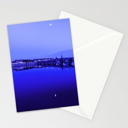 France landscape, Amboise, Loire valley, dusk, reflection, river, blue Stationery Cards