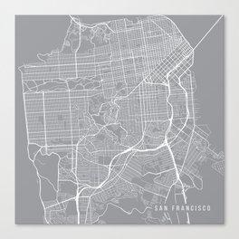 San Francisco Map, California USA - Pewter Canvas Print