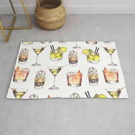 Fun Watercolor Drinks Pattern- Party Time Rug