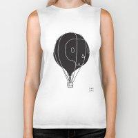hot air balloon Biker Tanks featuring Hot Air Balloon Skull by Fupete Art